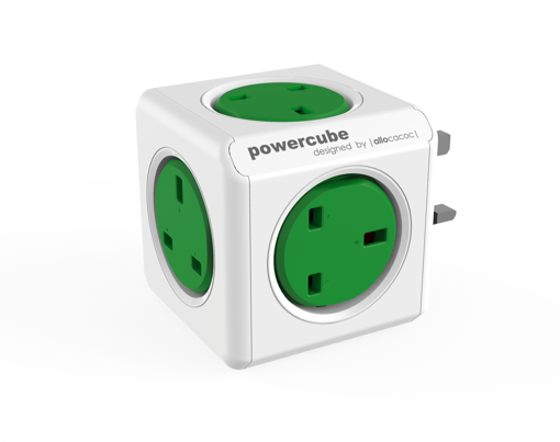صورة باور كيوب  موزع 5 فتحات للكهرباء - أخضر