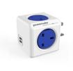 صورة باور كيوب موزع 4 فتحات للكهرباء + 2 مخرج يو اس بي - أزرق
