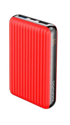صورة دايو بطارية بقوة 10000 مللي أمبير خاصية بي دي وخاصية الشحن السريع - أحمر