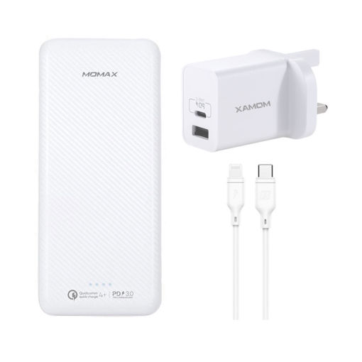 Picture of Momax Ready to Go iPower Minimal PD5 20000mAh + Lightning to Type-C Cable + USB Fast Charger PD - White