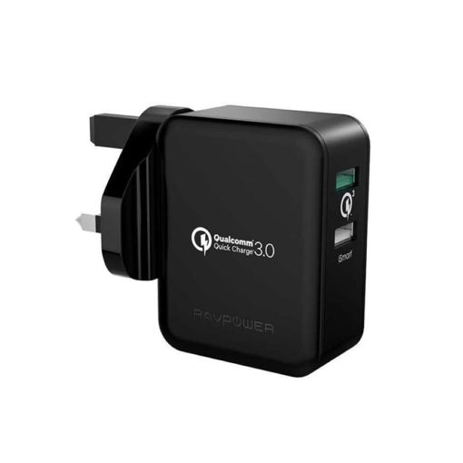 Picture of Ravpower Wall Charger 30W Dual USB QC3.0 UK - Black