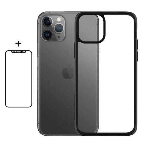 صورة بانزر قلاس  حماية شاشة للآيفون 11 برو شفاف إطار أسود بغطاء للكاميرا + كفر للآيفون 11 برو شفاف إطار أسود