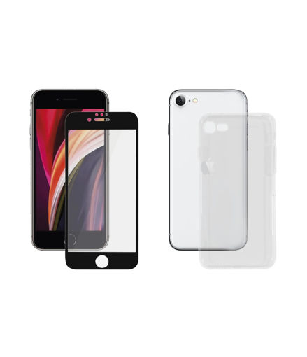 صورة بانزر قلاس حماية شاشة للأيفون 7/8/إس إي 2020 مع كفر شفاف - أسود