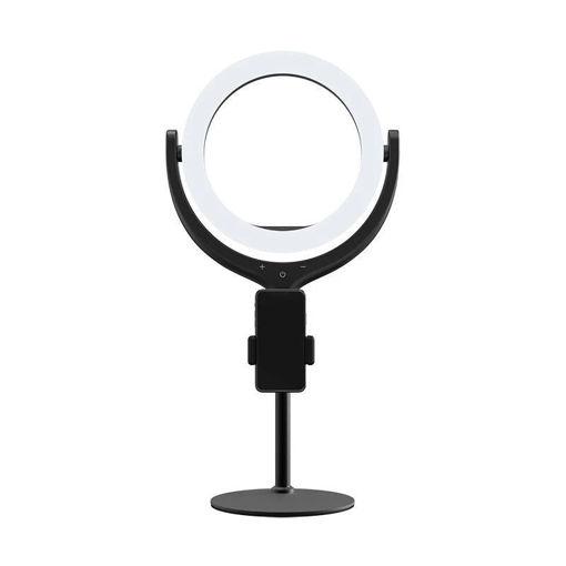 صورة ديفيا ستاند إضاءة مع مكان للهاتف 3 إضاءات مختلفة - أسود