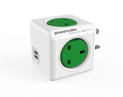 صورة باور كيوب موزع 4 فتحات للكهرباء و 2 مخرج يو اس بي - أخضر