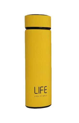 صورة لايف مطارة ستانليس ستيل لحفظ درجة حرارة المشروبات - أصفر