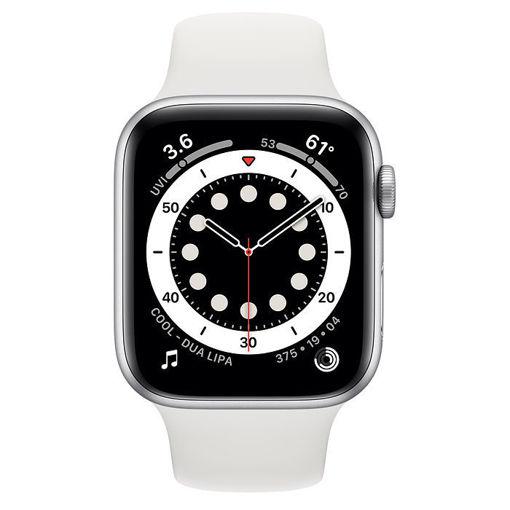 صورة أبل ساعة أبل الإصدار 6 جي بي إس مقاس 40 مللي - فضي/سير رياضي أبيض
