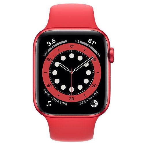 صورة أبل ساعة أبل الإصدار 6 جي بي إس مقاس 44 مللي - أحمر/سير رياضي أحمر