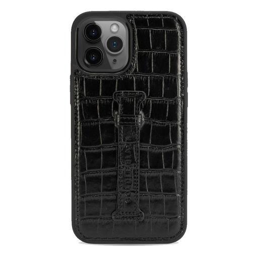 صورة قولد بلاك كفر جلد مع حامل للإصبع للأيفون 12 برو ماكس - أسود
