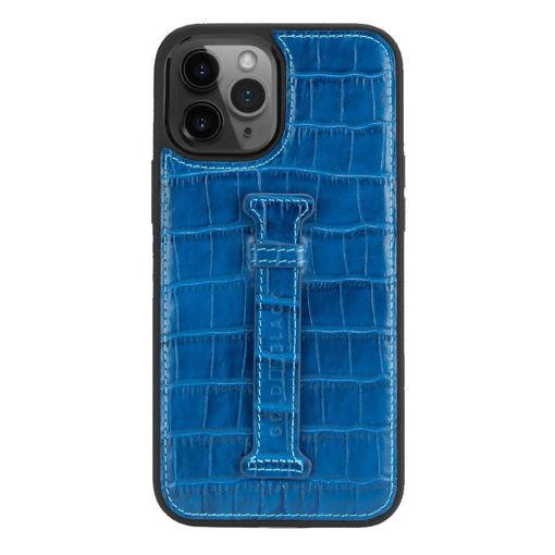 صورة قولد بلاك كفر جلد مع حامل للإصبع للأيفون 12 برو ماكس - أزرق
