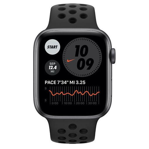 صورة أبل ساعة أبل نايك الإصدار 6 جي بي إس + شريحة مقاس 40 مللي - رمادي/سير نايك رياضي أسود
