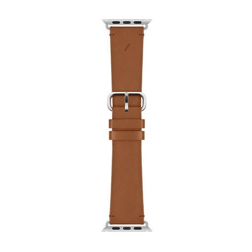صورة نايتف يونيون سير جلد كلاسيكي لساعة أبل 44/42 مللي - بني