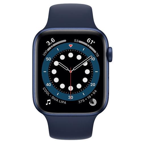 صورة أبل ساعة أبل الإصدار 6 جي بي إس + شريحة مقاس 44 مللي - أزرق/سير رياضي أزرق غامق