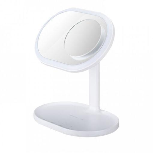 صورة موماكس مرآة مضيئة مع سماعة خارجية و شاحن لاسلكي - أبيض