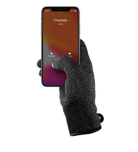 صورة موجو قفازات ذات طبقة واحدة تدعم اللمس لشاشات الأجهزة الذكية وسط - أسود