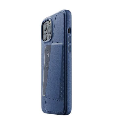 صورة موجو كفر جلد مزود بحافظة للكروت للأيفون 12 برو ماكس - أزرق