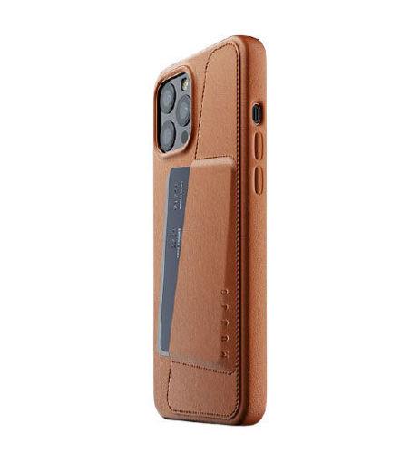 صورة موجو كفر جلد مزود بحافظة للكروت للأيفون 12 برو ماكس - بني