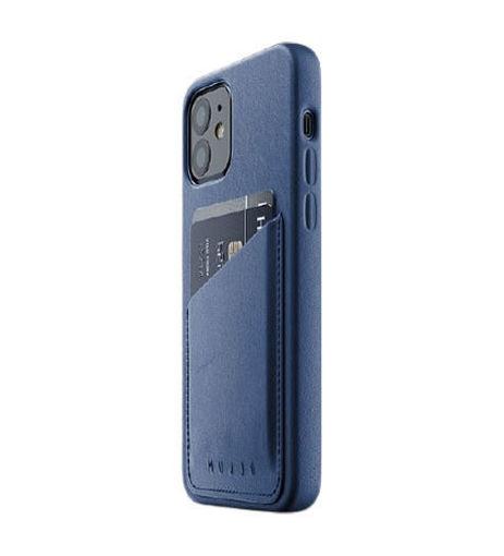 صورة موجو كفر جلد مزود بحافظة للكروت للأيفون 12 ميني - أزرق