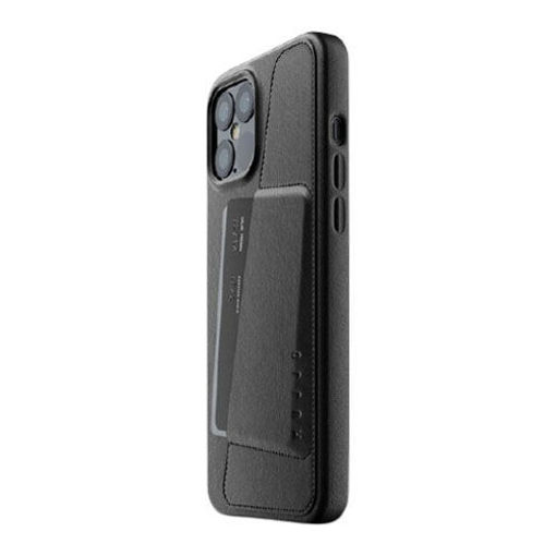 صورة موجو كفر جلد مزود بحافظة للكروت للأيفون 12 برو ماكس - أسود