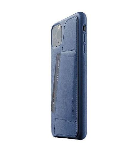صورة موجو كفر جلد مزود بحافظة للكروت للأيفون 11 برو ماكس - أزرق