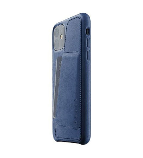 صورة موجو كفر جلد مزود بحافظة للكروت للأيفون 11 - أزرق