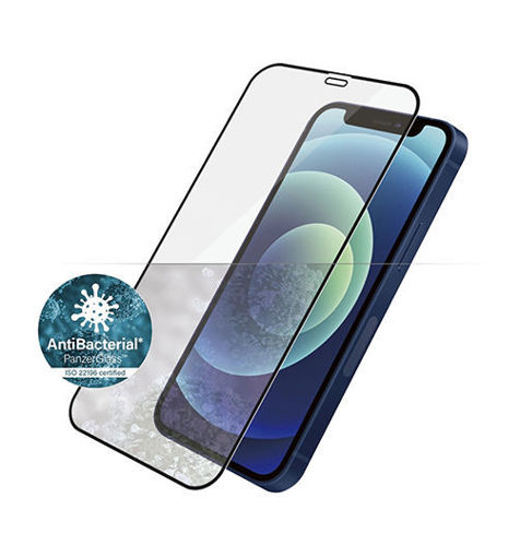 صورة بانزر قلاس حماية شاشة للأيفون 12 ميني - شفاف/اطار أسود