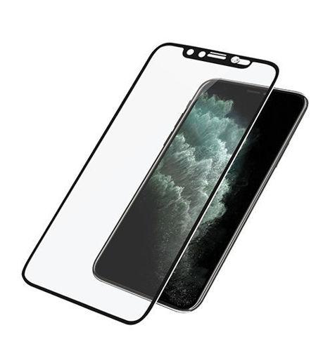 صورة بانزر قلاس حماية شاشة مع غطاء للكاميرا للأيفون 11 برو ماكس - شفاف/إطارأسود