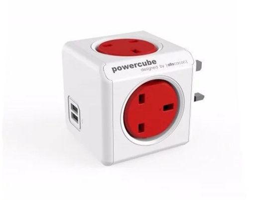 صورة باور كيوب موزع 4 فتحات للكهرباء + 2 مخرج يو اس بي - أحمر