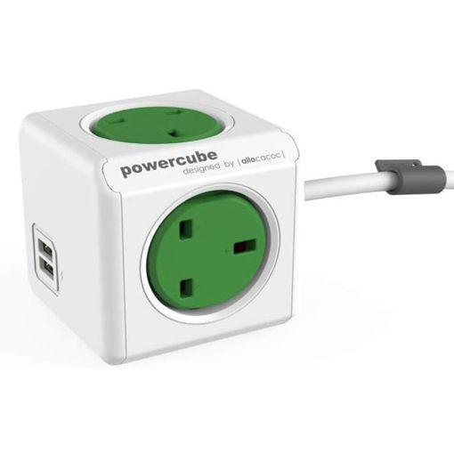 صورة باور كيوب موزع 4 فتحات للكهرباء+ 2 مخرج يو اس بي بكيبل 1.5 متر- أخضر