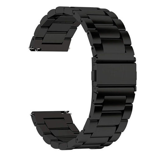 صورة وتش باند سير معدني لساعة هواوي/سامسونج 46-22 مللي - أسود