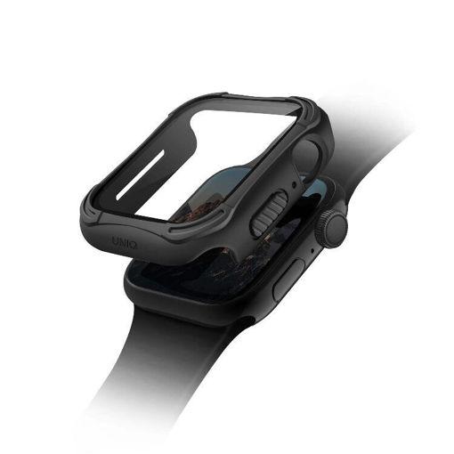 صورة يونيك مضاد للميكروبات مع حماية للشاشة من الزجاج المقوى لساعة أبل حجم 44 مللي - أسود