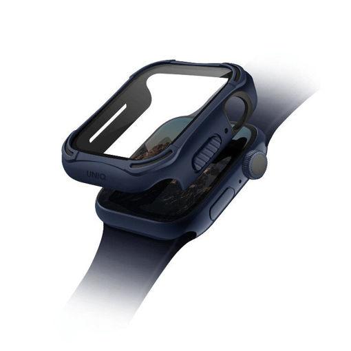 صورة يونيك مضاد للميكروبات مع حماية للشاشة من الزجاج المقوى لساعة أبل حجم 44 مللي - أزرق