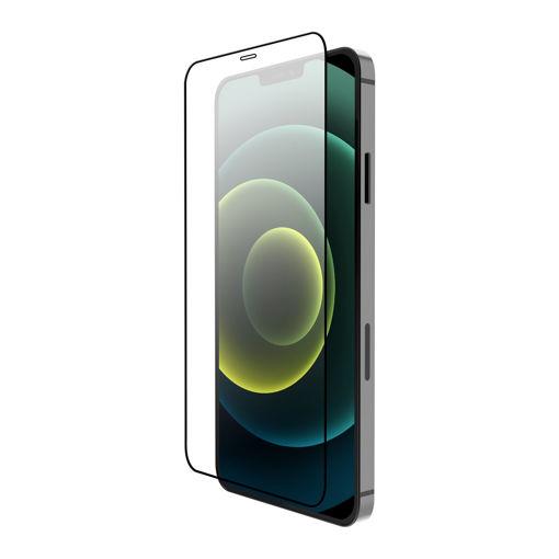 صورة جي سي بال حماية شاشة من الزجاج المقوى لجهاز أيفون 12 برو ماكس - شفاف/إطار أسود