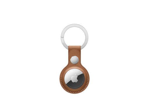 صورة أبل حاملة جلد لجهاز التتبع مع حامل للمفاتيح - بني