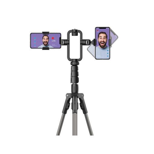 صورة موماكس حامل ثلاثي للتصوير مع حامل هاتف مزدوج - أسود
