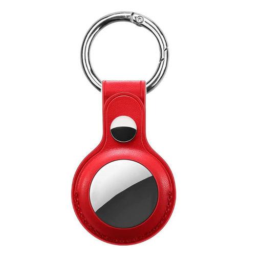 صورة ديفيا حاملة جلد لجهاز التتبع مع حامل للمفاتيح - أحمر
