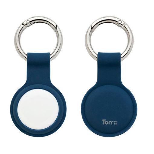 صورة توري حاملة سيليكون لجهاز التتبع مع حامل للمفاتيح  - أزرق