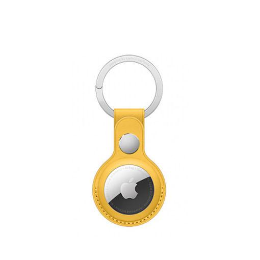 صورة أبل حاملة جلد لجهاز التتبع مع حامل للمفاتيح - أصفر
