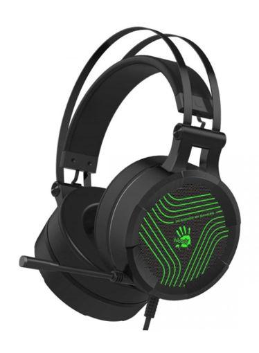 صورة بلودي سماعة رأس للألعاب مع ضوء أخضر - أسود/أخضر