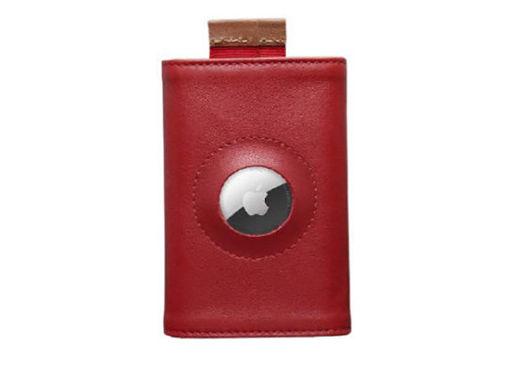 صورة فرنشي محفظة جلد إيطالي مع مكان لجهاز التتبع - أحمر