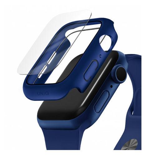صورة يونيك كفر ساعة أبل مع زجاج مقوى مقاوم للماء 44 مم - أزرق