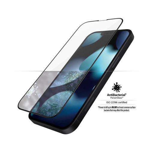 صورة بانزر قلاس حماية شاشة للأيفون 13 ميني - شفاف/اطار أسود