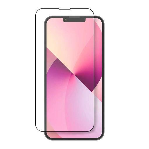صورة جي سي بال حماية شاشة من الزجاج المقوى لجهاز أيفون 13 برو ماكس - شفاف/إطار أسود