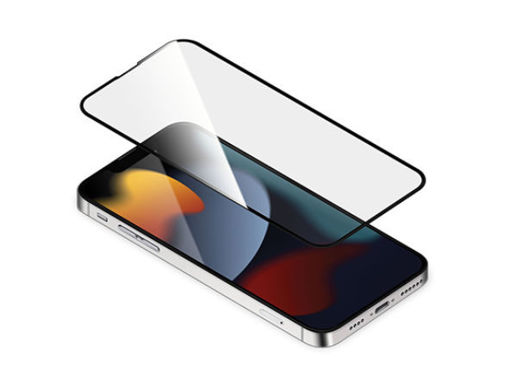 صورة توري حماية شاشة مع طلاء مضاد للبكتيريا للأيفون 13 برو ماكس - شفاف/إطار أسود